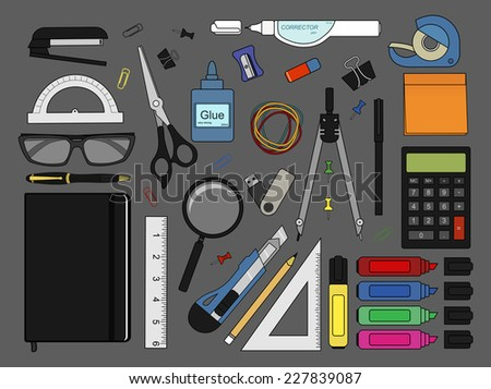 Stationery tools: marker, paper clip, pen, binder, clip, ruler, glue, zoom, scissors, stapler, corrector, glasses, pencil, calculator, eraser, knife, compasses, protractor, sticky notes, notebook, usb - stock vector