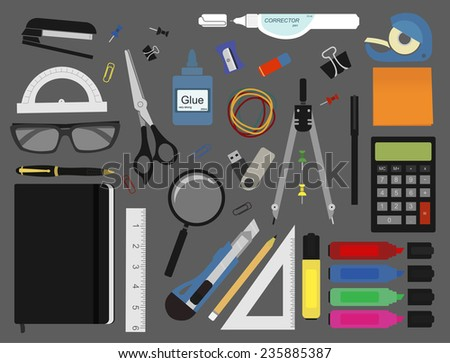 Stationery tools: marker, paper clip, pen, binder, clip, ruler, glue, zoom, scissors, stapler, corrector, glasses, pencil, calculator, eraser, compasses, protractor. No outlines vector illustration - stock vector