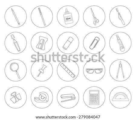 Stationery tools. Office linear icons set. Line art vector objects isolated on white - stock vector
