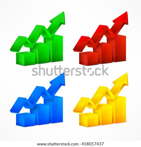 Statistic color charts with arrows on white vector illustration - stock vector