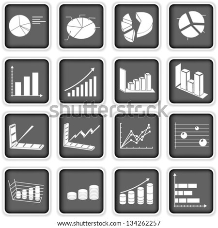 statistic graph icons - stock vector