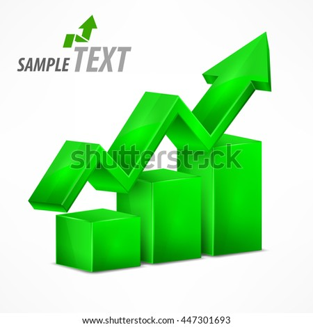Statistic green chart with arrow on white vector illustration - stock vector