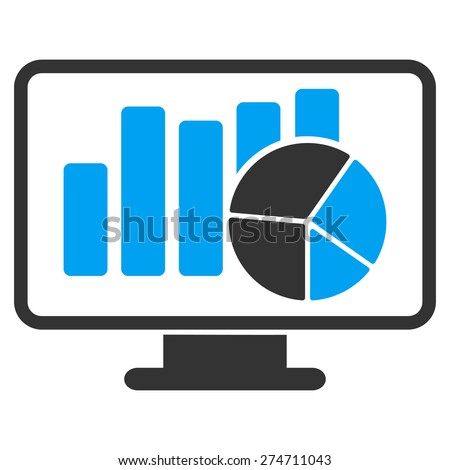 Statistics icon. This isolated flat symbol uses modern corporation light blue and gray colors. - stock vector