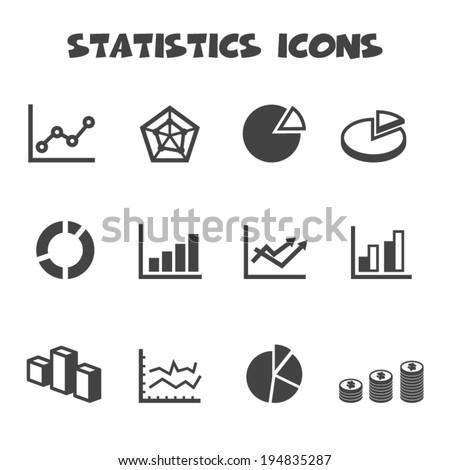 statistics icons, mono vector symbols - stock vector