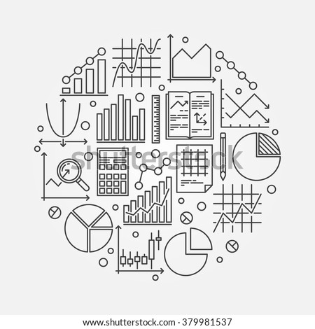 Statistics round illustration - vector symbol of data analysis or analytics. Business statistics background made with graph, bar, pie, diagram thin line signs  - stock vector