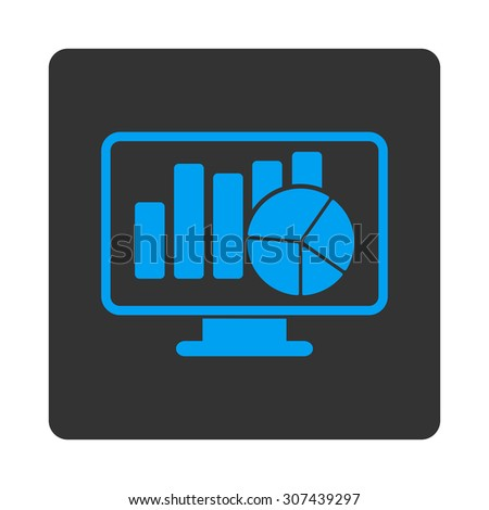 Statistics vector icon. This flat rounded square button uses blue and gray colors and isolated on a white background. - stock vector