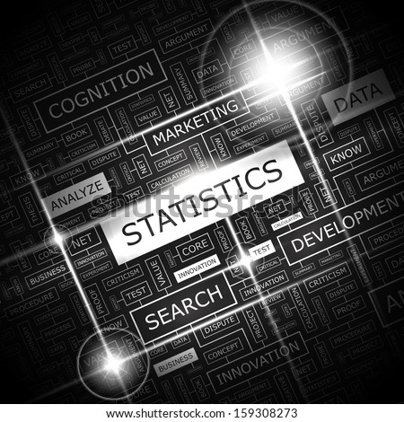 STATISTICS. Word cloud concept illustration. Graphic tag collection. Wordcloud collage with related tags and terms.  - stock vector