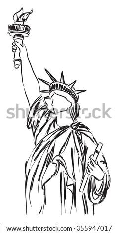 statue of liberty illustration 2 - stock vector