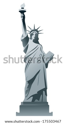 Statue of Liberty isolated on a white background. - stock vector