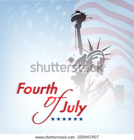 Statue of liberty on national flag waving background for Fourth of July, American Independence Day celebrations.  - stock vector