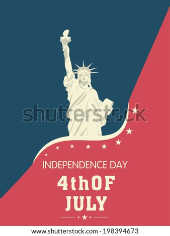 Statue of Liberty on stylish red and blue background for 4th of July, American Independence Day celebrations.  - stock vector