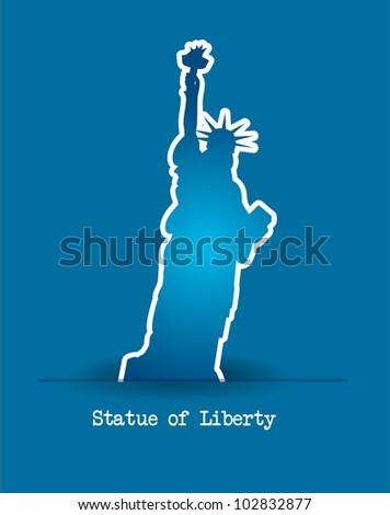 statue of liberty over blue background. vector illustration - stock vector