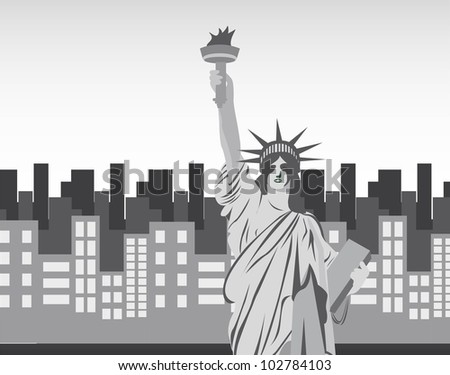 statue of liberty over city background. vector illustration - stock vector