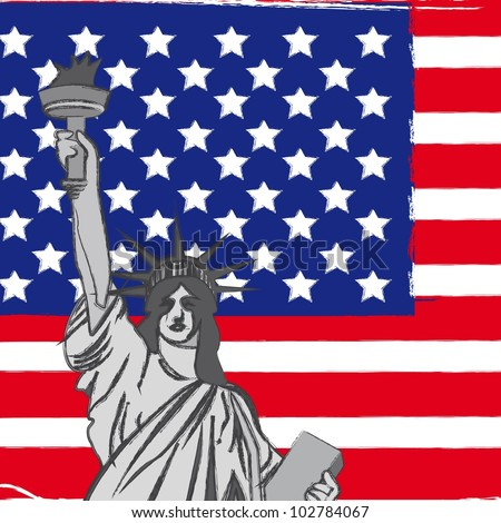 statue of liberty over united states flag, background. vector - stock vector