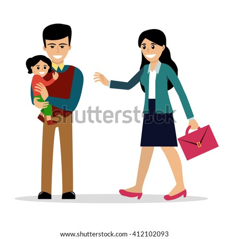 Stay-at-home dad holding a baby daugther meets the mother after work. Vector illustration, cartoon style. Isolated on white. Happy parenting. Father with a child and business woman. Modern family. - stock vector
