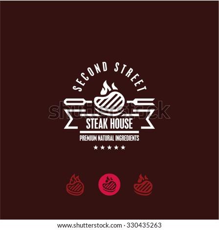 steak house logo, steak icon, bbq, grill menu - stock vector