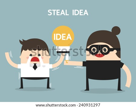 Steal idea, flat design, business concept - stock vector