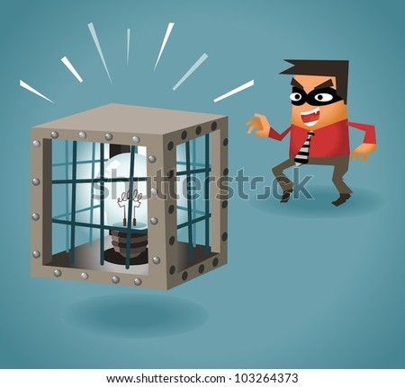 Stealing Idea. Vector illustration - stock vector