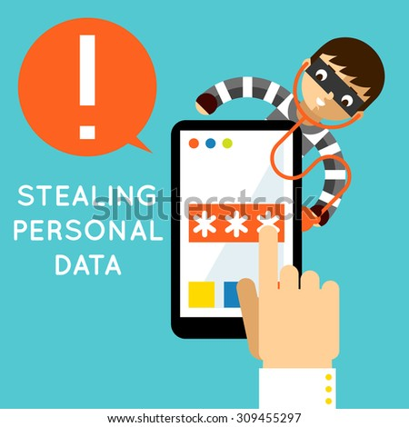 Stealing personal data. Internet protection, hacker crime, safety and password, vector illustration - stock vector