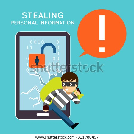 Stealing personal information from your mobile phone. Protection and hacker, crime theft, privacy smartphone, vector illustration - stock vector