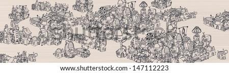 Steam city map. - stock vector