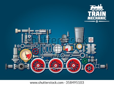 Steam locomotive train made up of mechanical parts as steam engine, power transmission system, gearbox, cogwheels, colorful pressure gauges, valves, gears with red wheels, cylinders, pipe, headlights - stock vector