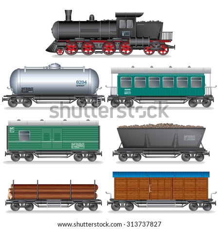 Steam Locomotive with Various Wagons. Vector Retro Train - stock vector