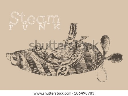 steam punk aircraft (airship) engraving style, hand drawn - stock vector