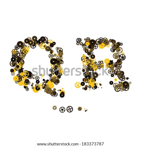 Steam punk mechanical letters made of gears and screws. Q, R - stock vector