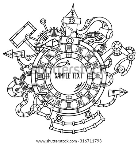 Steam punk vector illustration with industrial technical elements of mechanics in black and white colors - stock vector