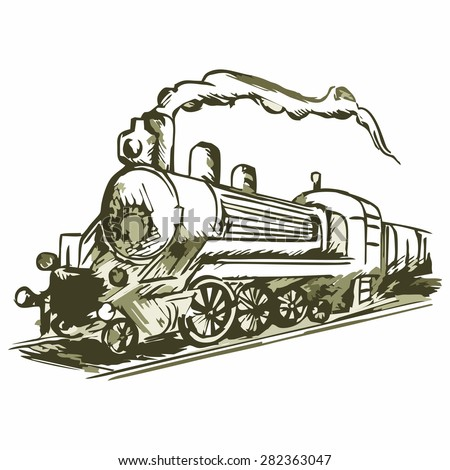 Steam train with smoke. Shades of green and yellow. Doodle style - stock vector