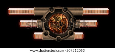 Steampunk abstract mechanism. Gears in machine oil and radio lamps. - stock vector