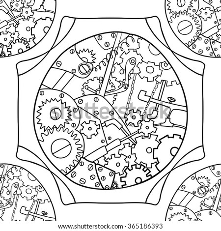 Steampunk black and white doodle seamless pattern. Template texture background decoration on wallpapers web,  wrapping paper, print and decoupage paper, decopatch, scrapbooking. Vector illustration - stock vector