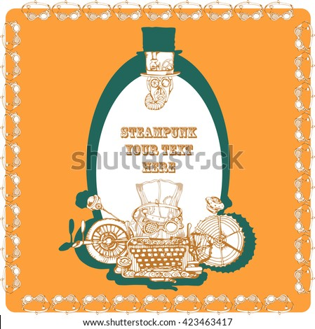 Steampunk card design, hand drawn vector illustration.Steampunk elements for your design. - stock vector