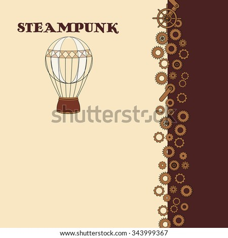 Steampunk card with vintage hot air balloon in doodle style - stock vector