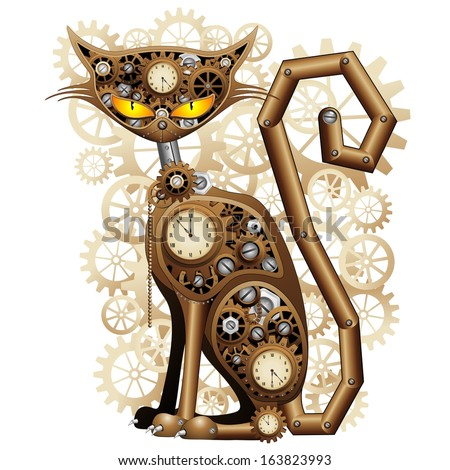 Steampunk Cat Vintage Style - stock vector