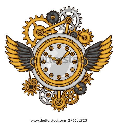 Steampunk clock collage of metal gears in doodle style. - stock vector