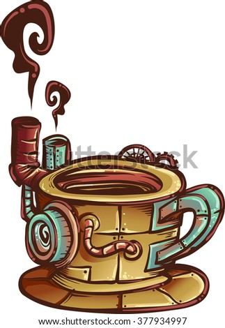 Steampunk Illustration of a Coffee Mug Designed with Cogs and Gears - stock vector