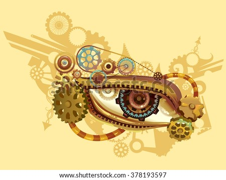 Steampunk Illustration of an Eye Elaborately Designed with Cogs and Gears - stock vector