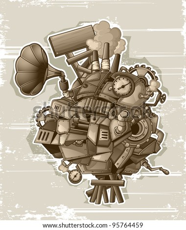 Steampunk mechanism grunge - stock vector