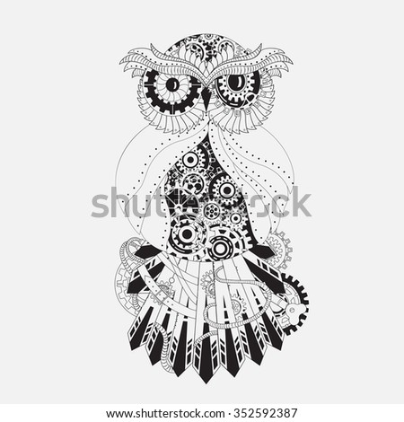 Steampunk outline vector owl with gear. Metallic steam punk owl made from steel. Vintage steampunk owl isolated on white - stock vector