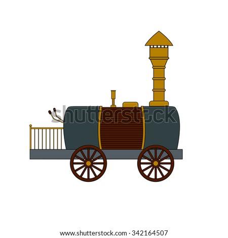 Steampunk retro locomotive in doodle style - stock vector