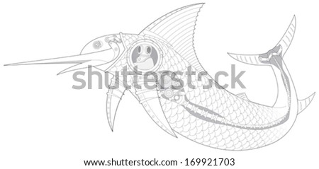 Steampunk Sailfish mechanical fish with diver, vector illustration - stock vector