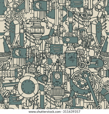 Steampunk seamless pattern. Science, technology, vintage, progress, chemistry, science, mechanism, diesel punk. Retro style industrial design for wrapping paper or background. Repetition illustration. - stock vector