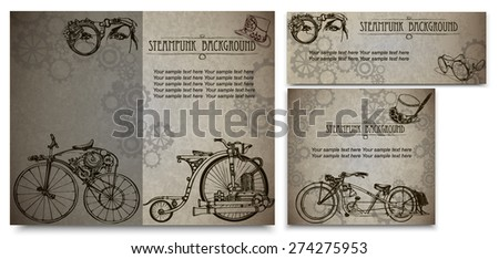 Steampunk style frame steampunk background. Set of vintage cards for business.Business Card Design. - stock vector