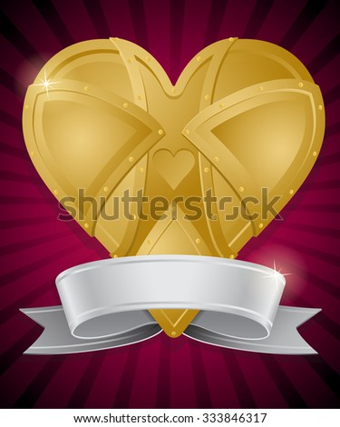 Steampunk Style Heart of Gold with Ribbon Banner. Illustration of a vintage Retro Heart shaped object made form golden metallic plates and rivets with Glossy Silver Ribbon Banner. - stock vector