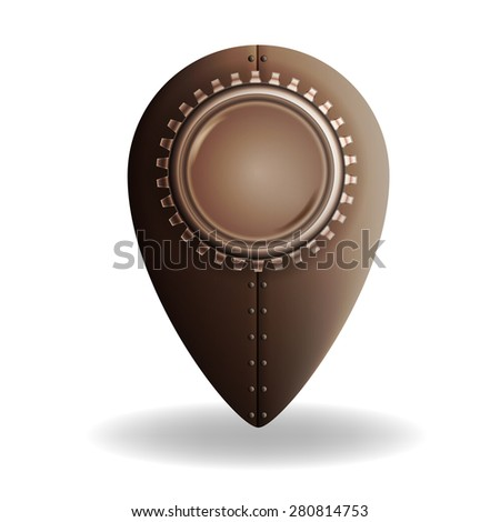 Steampunk style location pin icon - stock vector
