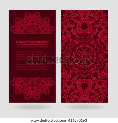 Steampunk vector design with industrial technical elements of mechanics. Vector round mandala. Ornamental doodle. Templates for your own design. - stock vector