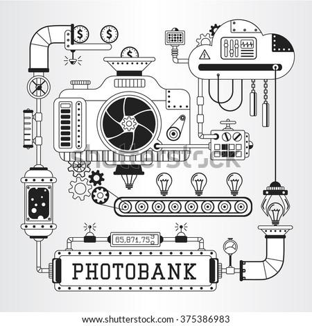 Steampunk vector illustration of microstock, photobank process of work. - stock vector