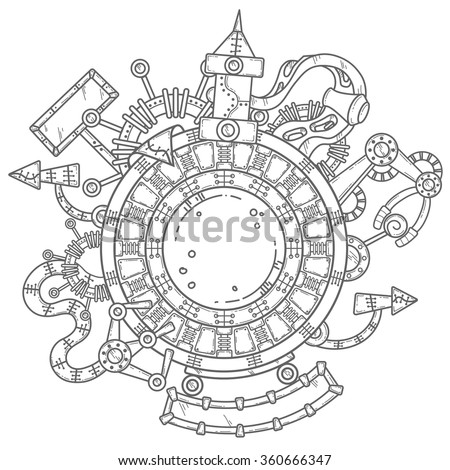 Steampunk vector illustration with industrial technical elements of mechanics in black and white colors - stock vector